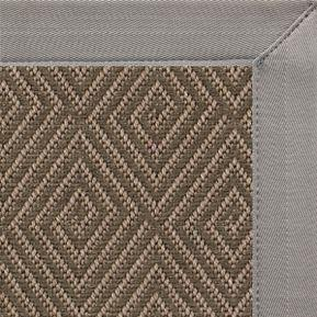 Brown Diamond/Malta Orris Patterned Outdoor Area Rug with Coin Canvas Border - Free Shipping