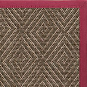 Brown & Maroon Diamond Malta Orris Patterned Outdoor Area Rug Canvas Border - Free Shipping