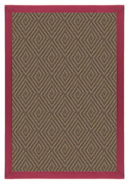 Area Rugs - Sustainable Lifestyles Brown & Maroon Diamond Malta Orris Patterned Outdoor Area Rug Canvas Border