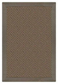 Area Rugs - Sustainable Lifestyles Brown Patterned Outdoor Area Rug With Quarry Canvas Border