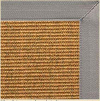 Cognac Sisal Area Rug with Coin Gray Canvas Border - Free Shipping