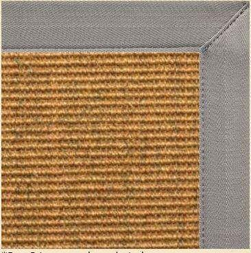 Cognac Sisal Area Rug with Coin Gray Canvas Border