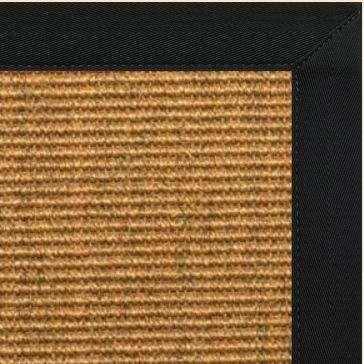 Cognac Sisal Rug with Black Canvas Border - Free Shipping