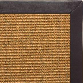 Cognac Sisal Rug with Black Leather Border