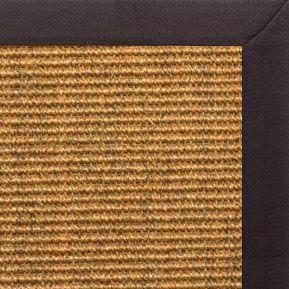 Cognac Sisal Rug with Black Linen Border - Free Shipping