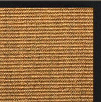 Cognac Sisal Rug with Black Onyx Cotton Border - Free Shipping