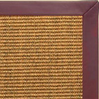 Cognac Sisal Rug with Burgundy Leather Border - Free Shipping