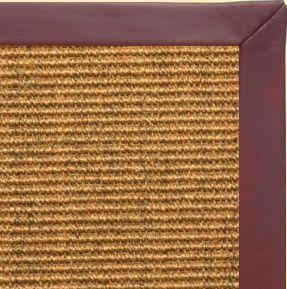 Cognac Sisal Rug with Burgundy Leather Border