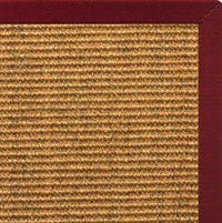 Cognac Sisal Rug with Cardinal Red Cotton Border - Free Shipping