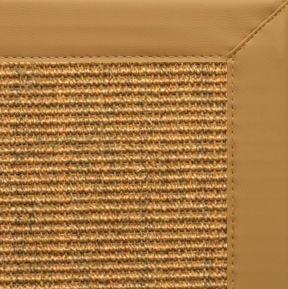 Cognac Sisal Rug with Chamois Faux Leather Border