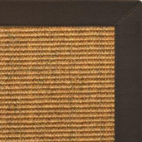 Cognac Sisal Rug with Chocolate Cotton Border - Free Shipping