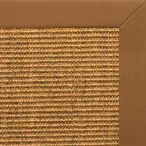 Cognac Sisal Rug with Cinnamon Faux Leather Border