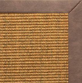 Cognac Sisal Rug with Coco Faux Leather Border - Free Shipping
