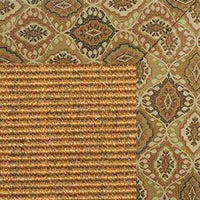 Cognac Sisal Rug with earth tapestry Border - Free Shipping