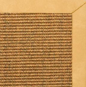 Cognac Sisal Rug with Gold Faux Leather Border