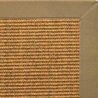 Cognac Sisal Rug with Green Mist Cotton Border - Free Shipping