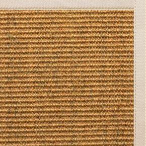 Cognac Sisal Rug with Ivory Cotton Border