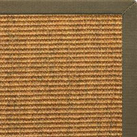 Cognac Sisal Rug with Khaki Green Cotton Border - Free Shipping
