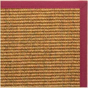 Cognac Sisal Rug with Maroon Canvas Border - Free Shipping