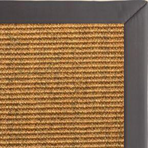 Cognac Sisal Rug with Midnight Faux Leather Border - Free Shipping