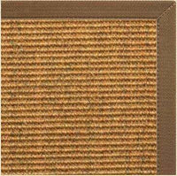 Cognac Sisal Rug with Mocha Brown Canvas Border - Free Shipping