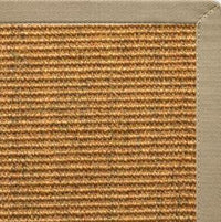 Cognac Sisal Rug with Moon Rock Gray Cotton Border - Free Shipping