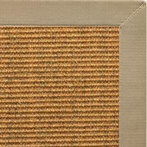 Area Rugs - Sustainable Lifestyles Cognac Sisal Rug With Moon Rock Gray Cotton Border