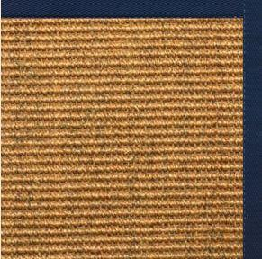 Cognac Sisal Rug with Navy Blue Cotton Border