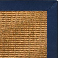 Cognac Sisal Rug with Navy Blue Cotton Border - Free Shipping
