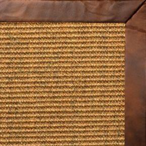 Cognac Sisal Rug with Oak Leather Border - Free Shipping