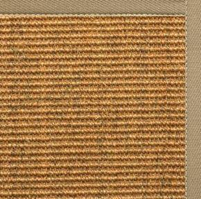 Cognac Sisal Rug with Oatmeal Cotton Border - Free Shipping