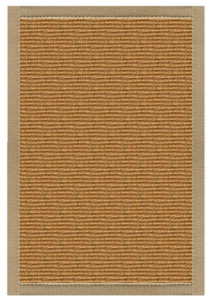 Area Rugs - Sustainable Lifestyles Cognac Sisal Rug With Oatmeal Cotton Border