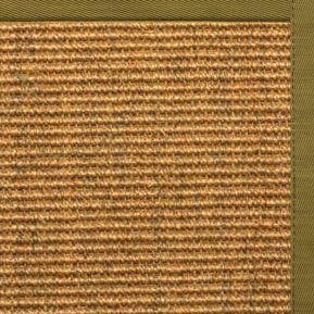 Cognac Sisal Rug with Olive Green Cotton Border
