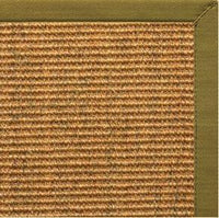 Cognac Sisal Rug with Olive Green Cotton Border - Free Shipping