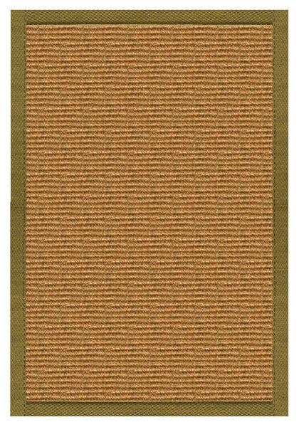 Area Rugs - Sustainable Lifestyles Cognac Sisal Rug With Olive Green Cotton Border