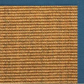 Cognac Sisal Rug with Paradise Blue Cotton Border
