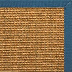 Cognac Sisal Rug with Paradise Blue Cotton Border - Free Shipping