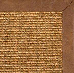 Cognac Sisal Rug with Rawhide Faux Leather Border - Free Shipping