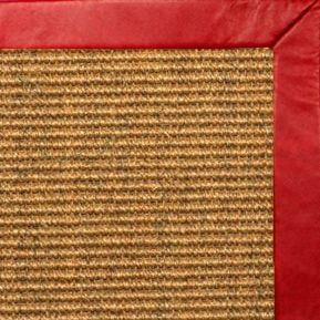 Cognac Sisal Rug with Red Leather Border - Free Shipping