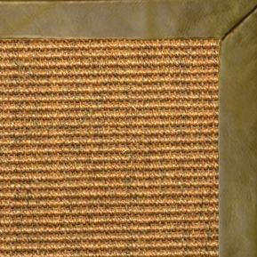 Cognac Sisal Rug with Sage Leather Border - Free Shipping