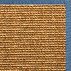 Cognac Sisal Rug with Slate Blue Cotton Border