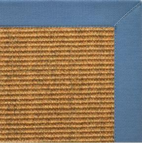 Cognac Sisal Rug with Slate Blue Cotton Border - Free Shipping