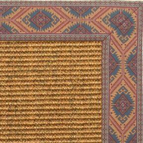 Cognac Sisal Rug with Southwest tapestry Border - Free Shipping