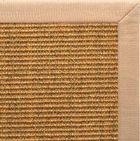 Cognac Sisal Rug with Tan Linen Border - Free Shipping