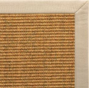 Cognac Sisal Rug with Taupe Linen Border