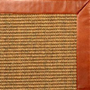 Cognac Sisal Rug with Whiskey Leather Border - Free Shipping