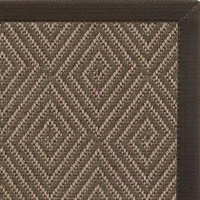 Malta Orris Diamond Pattern Outdoor Area Rug with Chocolate Canvas Border