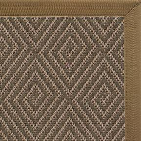 Malta Orris Patterned Outdoor Area Rug with Canvas Pecan Brown Border