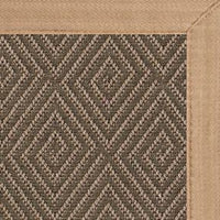 Malta Orris Patterned Outdoor Area Rug with Wheat Extra Wide Canvas Border - Free Shipping