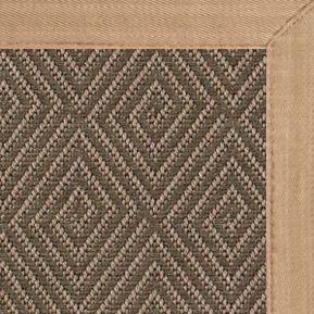 Malta Orris Patterned Outdoor Area Rug with Wheat Extra Wide Canvas Border
